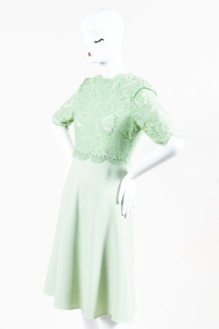 NWT  Mint Green Sheer Floral Lace Wool Flare Dress SZ 8