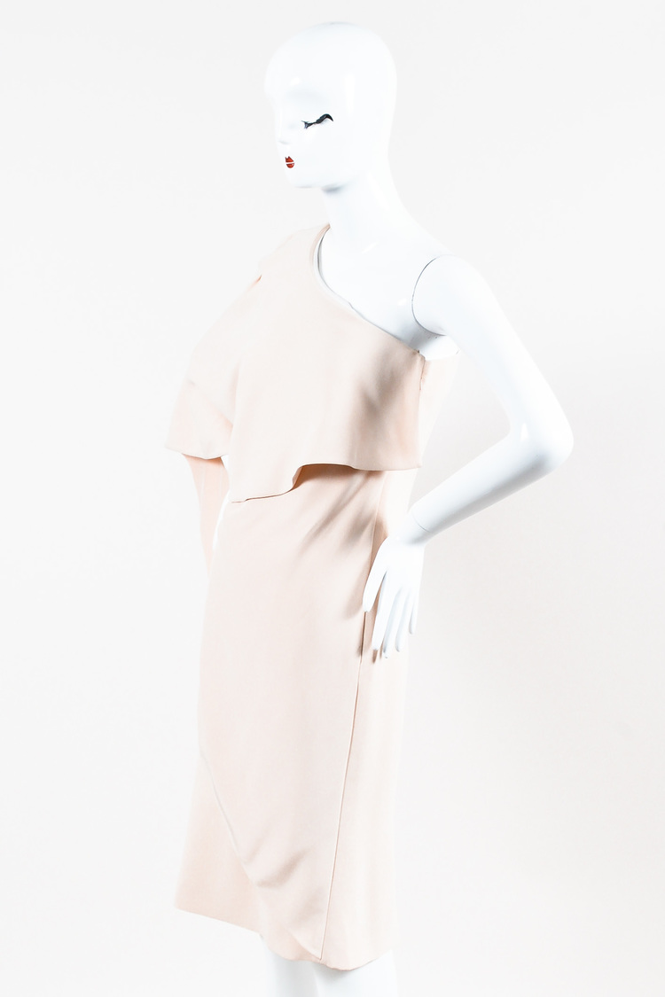 NWT Nude Crepe One Shoulder Layered Dress SZ 40