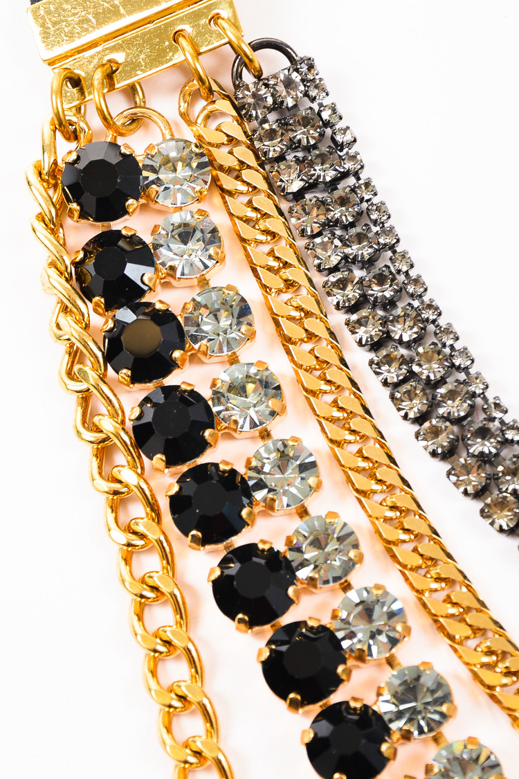 NWT  Gold Tone Black Crystal Layered Multi Strand Chain Necklace