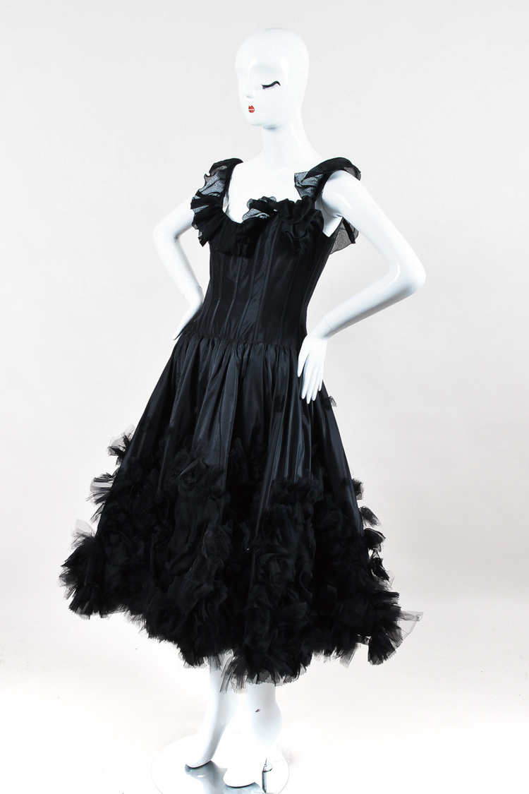 Resort 07 Black Corset Ruffle Dress SZ 8