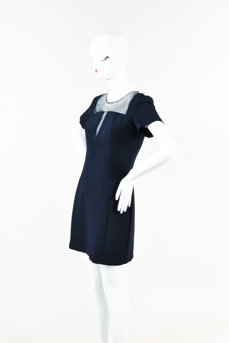 Collection NWT  Navy Short Sleeve Crystal Inset Dress SZ 12