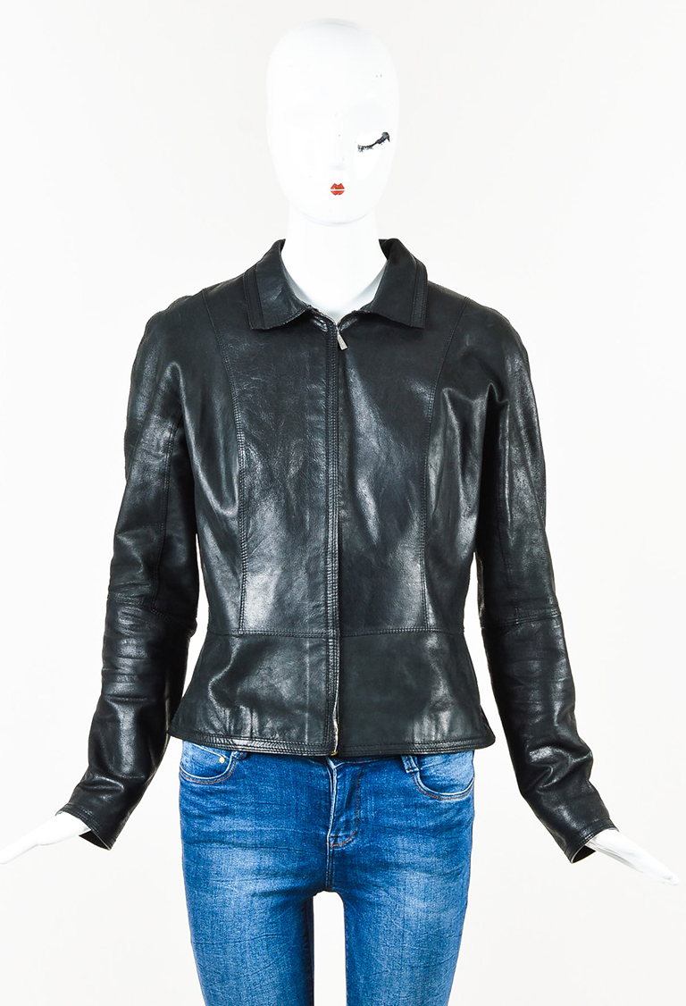 Black Leather Zip Pointed Collar Front Jacket