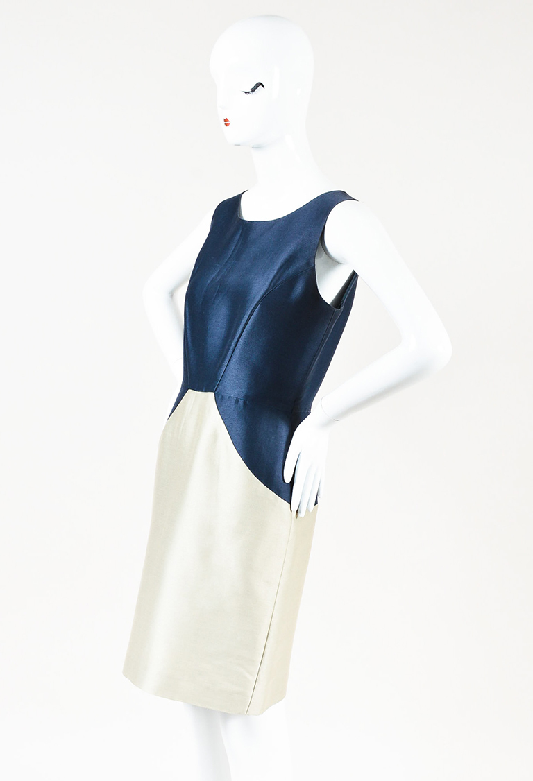 Navy Beige Silk Blend Color Block Sleeveless Sheath Dress