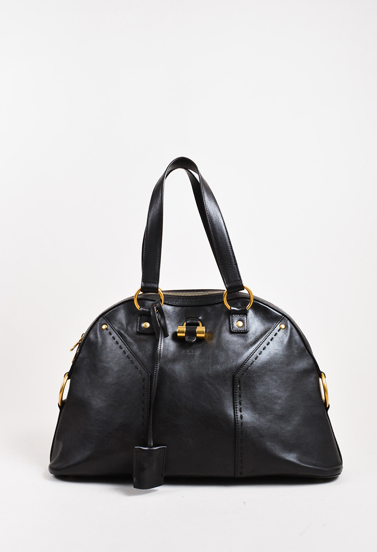 """Yves  Rive Gauche Dark Brown Leather GHW """"Large Muse"""" Satchel Bag"""