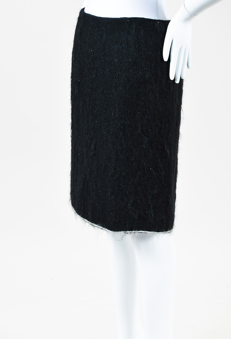 Black White Mohair Wool Skirt