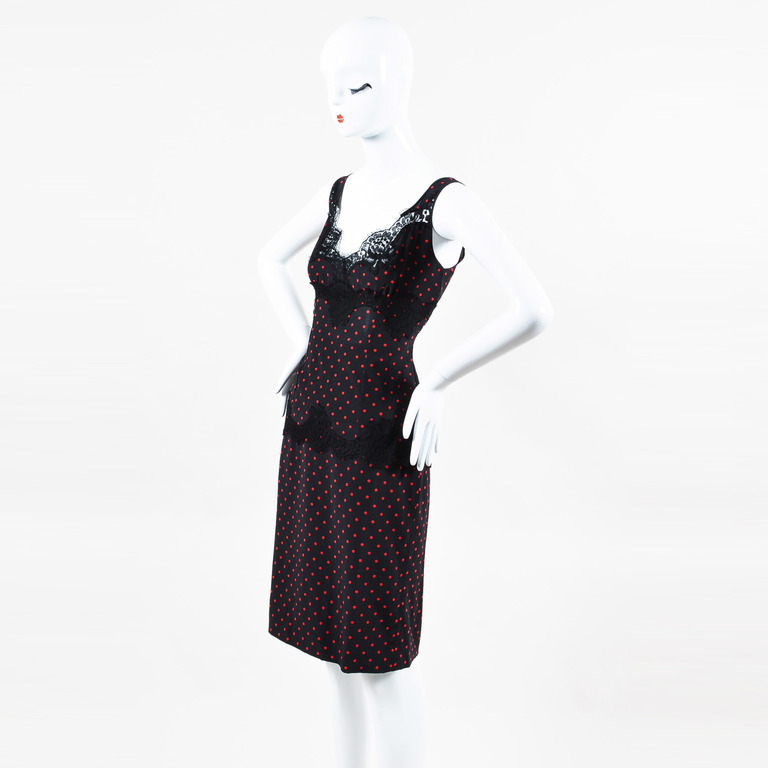 5cb61407 Details about Dolce Gabbana Black Red Polka Dot Lace Top and Matching Skirt  Set SZ 42