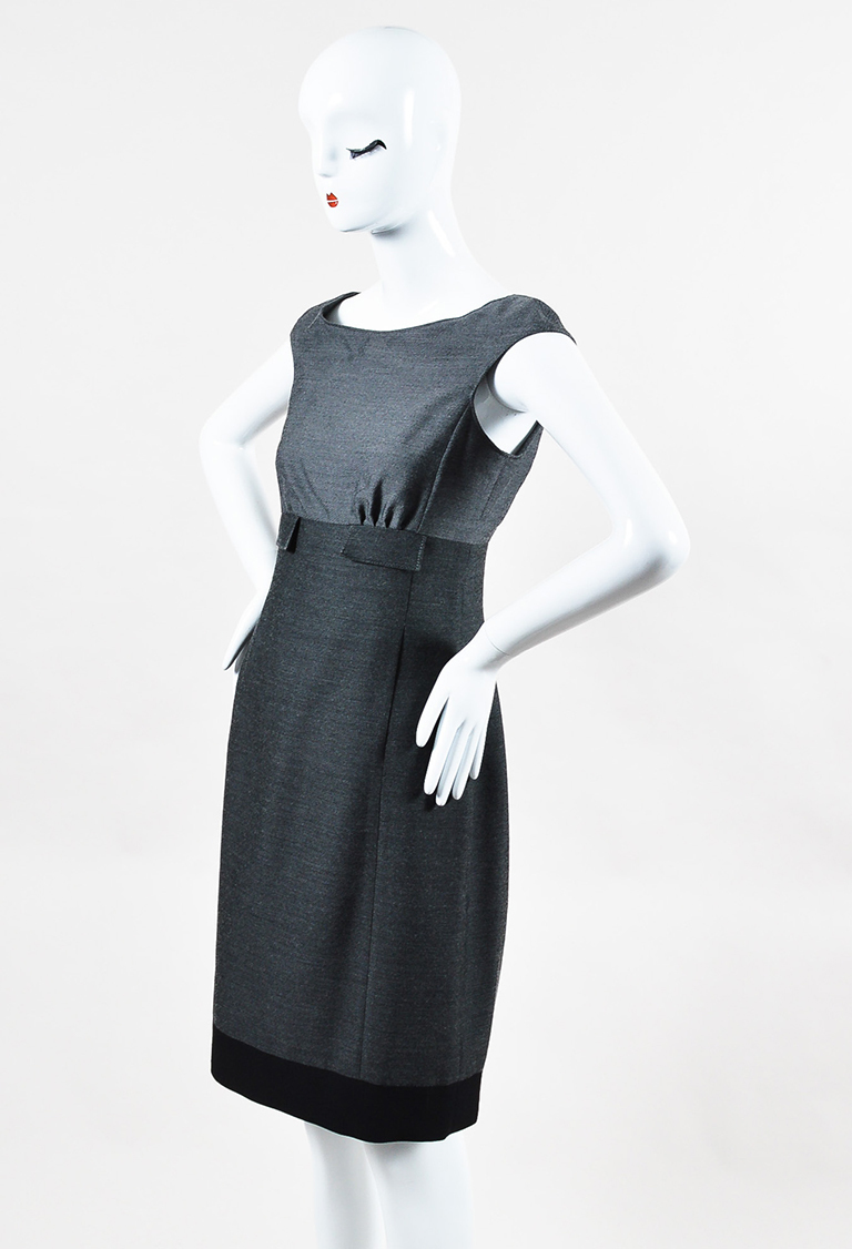 Gray Tricolor Wool Structured Sleeveless Dress