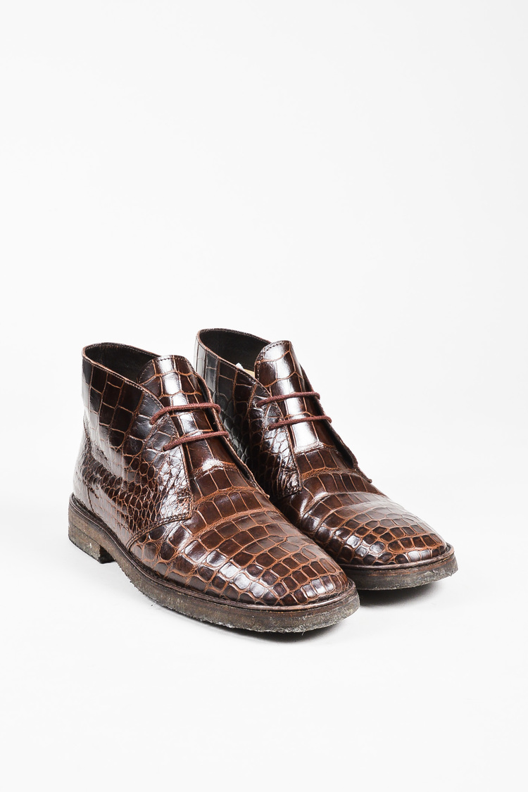 Brown Crocodile Lace Up Chukkas