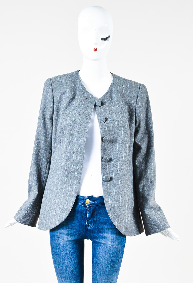 Gray White Wool Pinstripe Button Long Sleeve Blazer Jacket