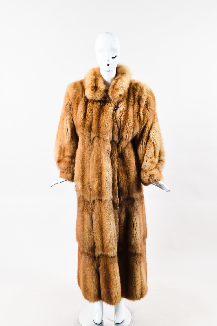 VINTAGE  Tan Beige Stone Marten Fur Oversized Collar Long Coat