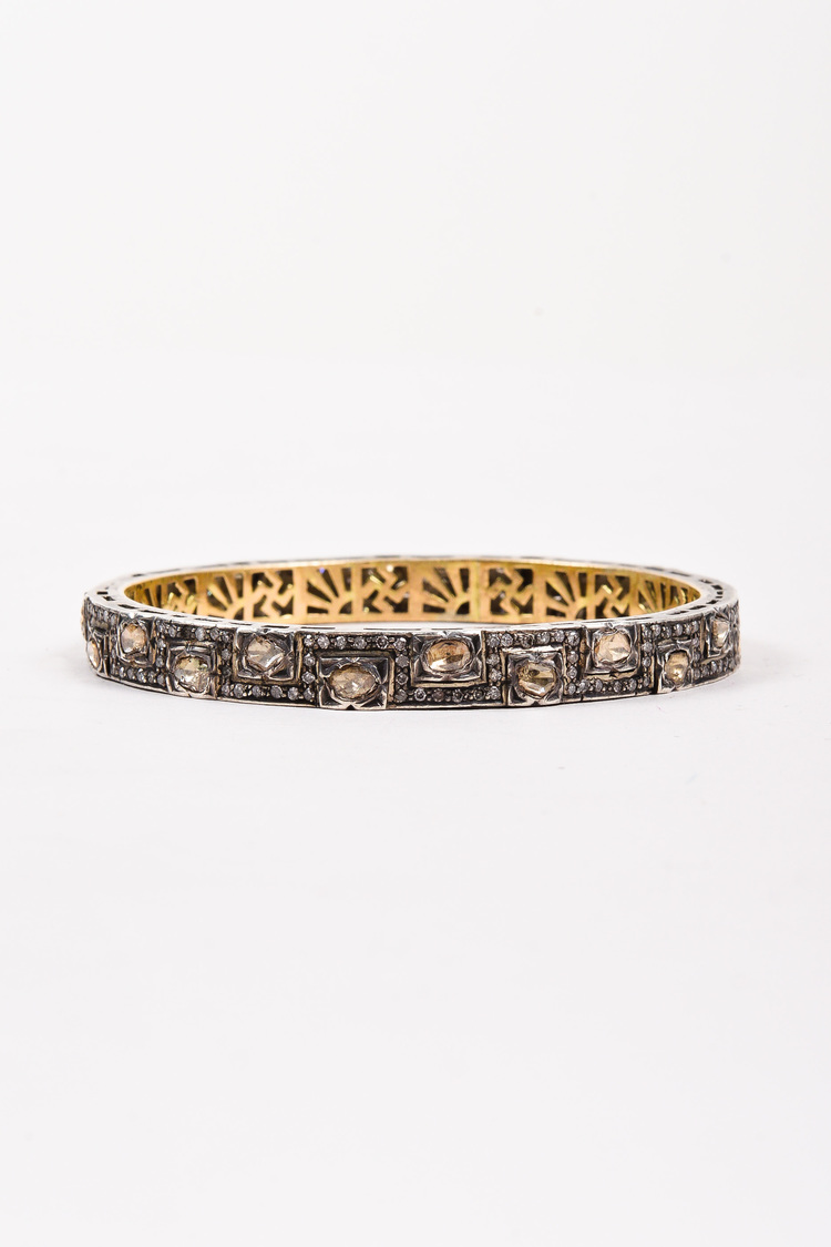 Indian Made Silver Tone Gold Plated Rough Cut Diamond Bangle Bracelet
