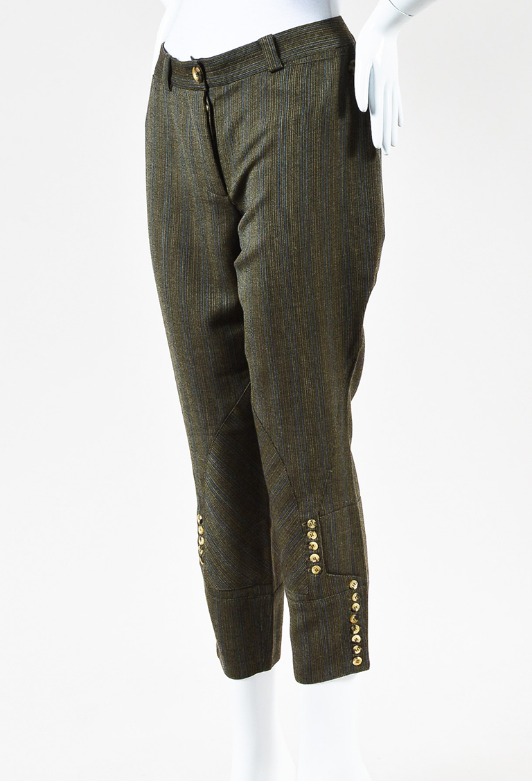 Olive Green Brown Blue Woven Wool Striped Cropped Trousers
