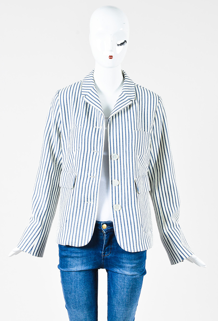 'S MaxMara Blue White Stripe Cotton Patch Pocket Blazer Jacket