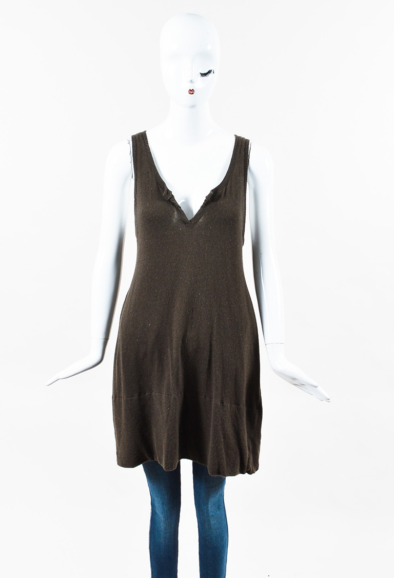 Dark Olive Green Cashmere Knit Sleeveless Tunic Top