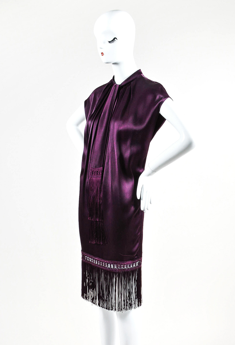 """Aubergine"" Purple Satin Pleated Fringe Sleeveless Dress"
