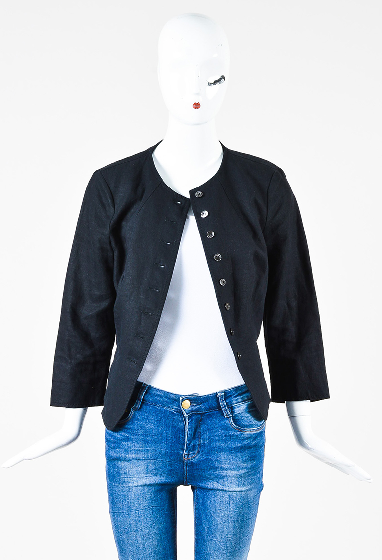 Black Linen Pleated Back Long Sleeve Button Up Blazer