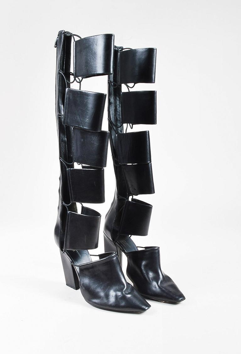 """Black Leather Caged Cut Out """"Marta"""" Heeled Boots"""
