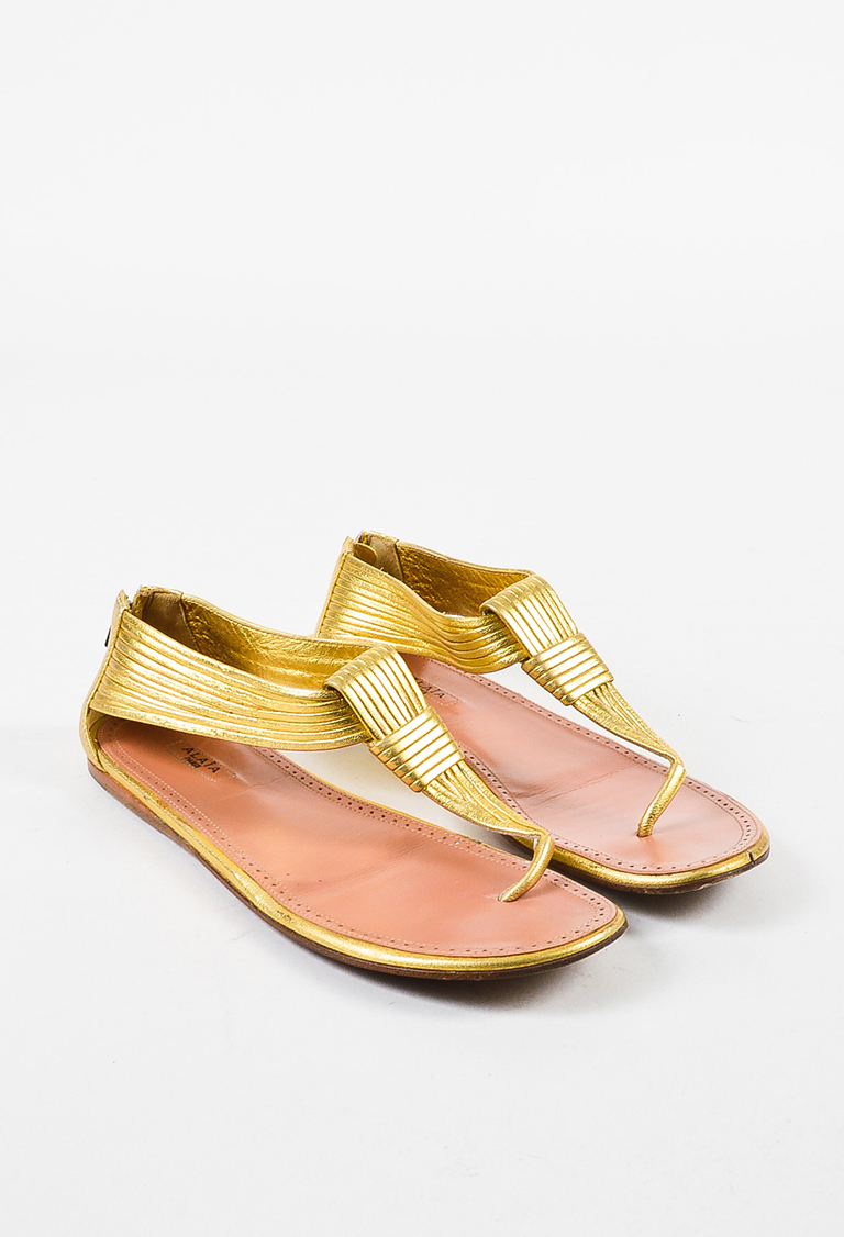 Gold Metallic Leather Ribbed Strap Flat Thong Sandals