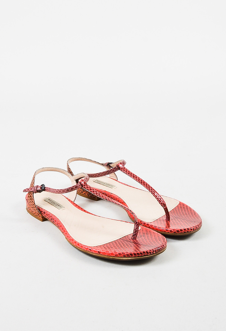 Coral Red Snakeskin Flat T Strap Thong Sandals