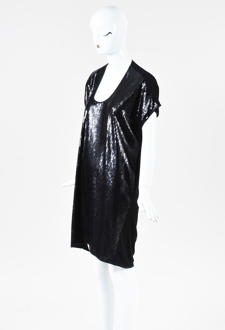Black Sequin U Neck Dropped Shoulder Funnel Dress