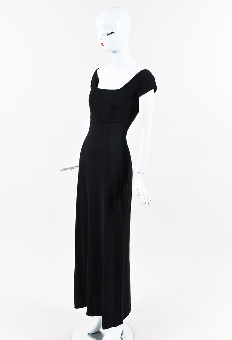 Black Quilted Bodice Cap Sleeve Gown