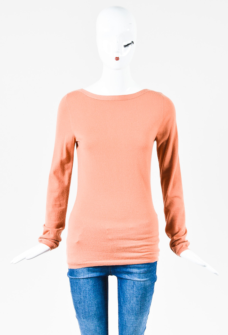 Pink Cashmere Long Sleeve Boat Neck Pullover Sweater