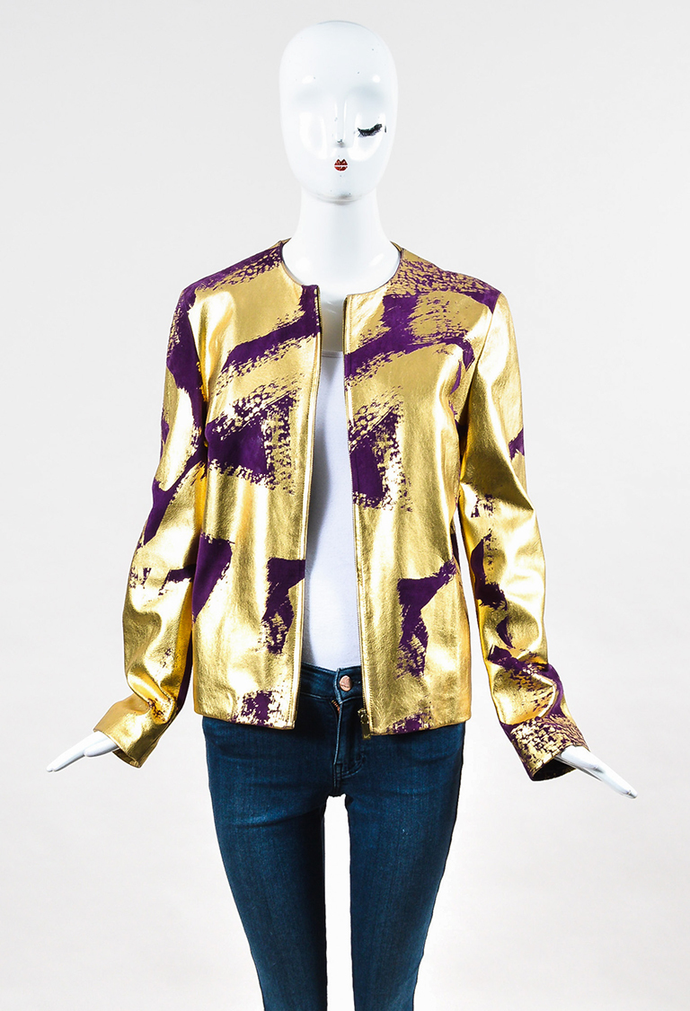 Metallic Gold & Purple Lacquered Leather & Suede Zipped Jacket