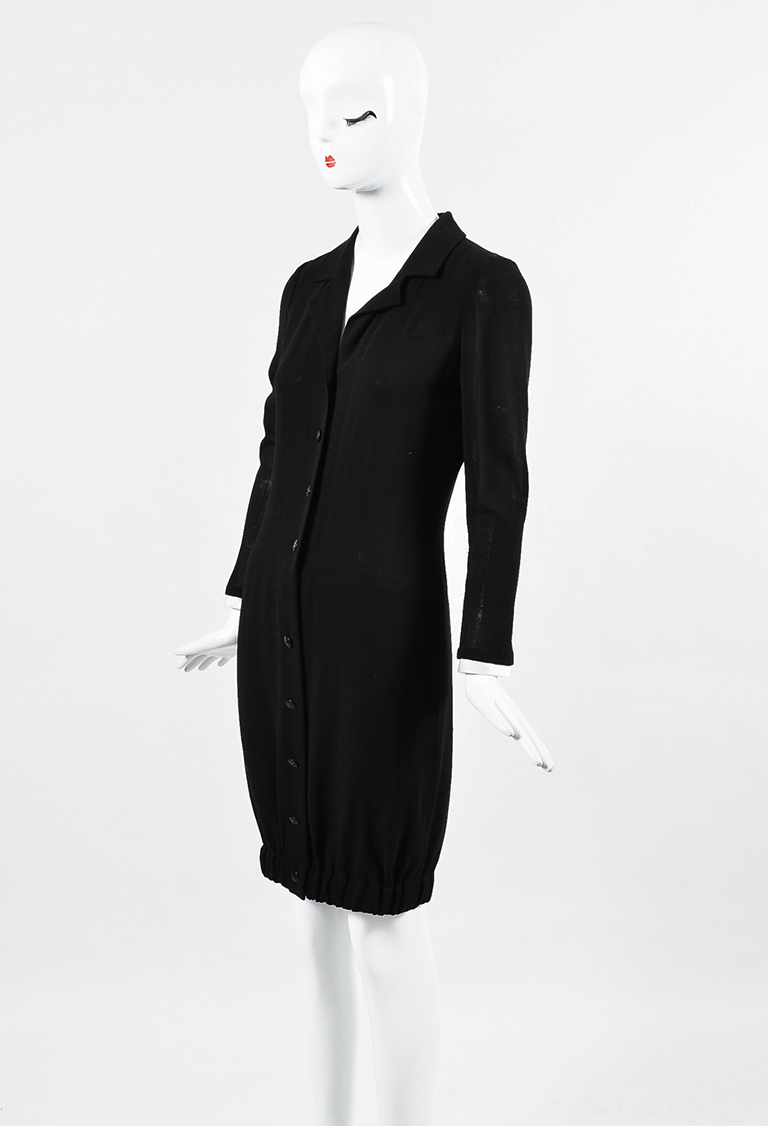 04A Black Wool Collared Button Up Elastic Hem Long Sleeve Dress