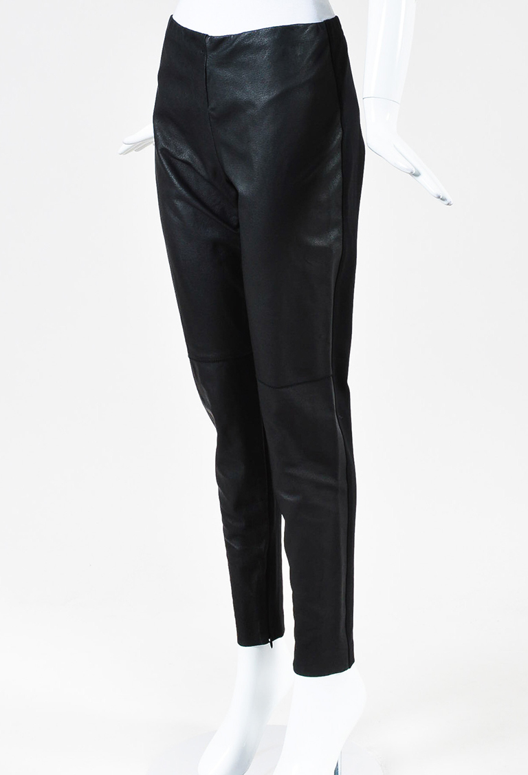 Black Leather Front Panel Zip Ankle Leggings