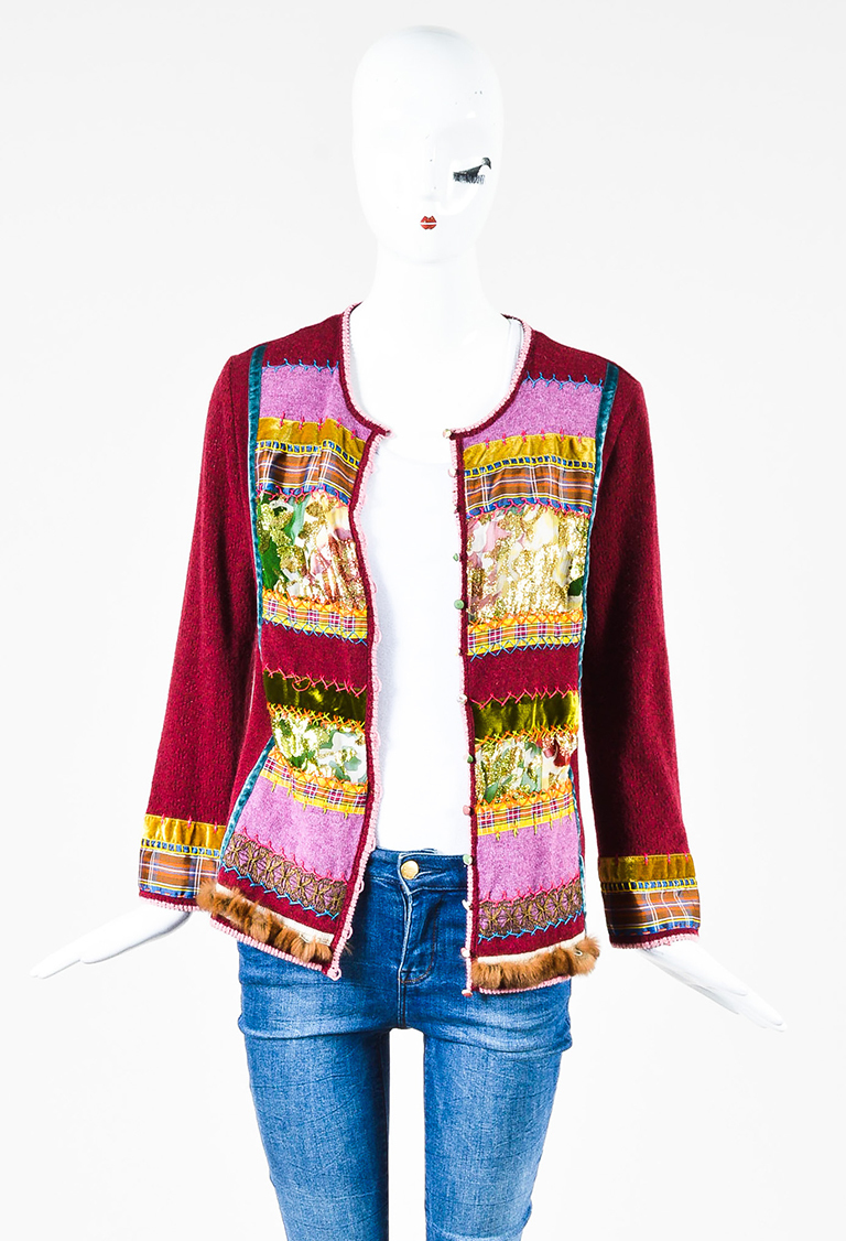 Maroon Knit Fur Trim Metallic Multi Pattern Long Sleeve Cardigan