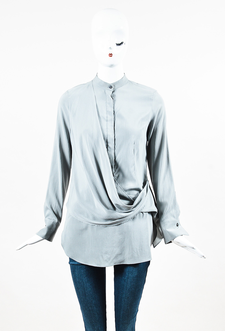 Grey Stretch Silk Draped Front Long Sleeve Button Up Blouse