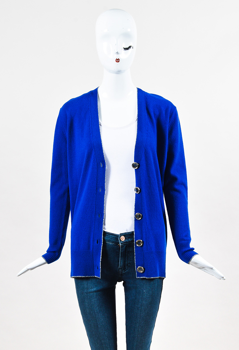 Royal Blue Wool Cashmere Silver Button Cardigan