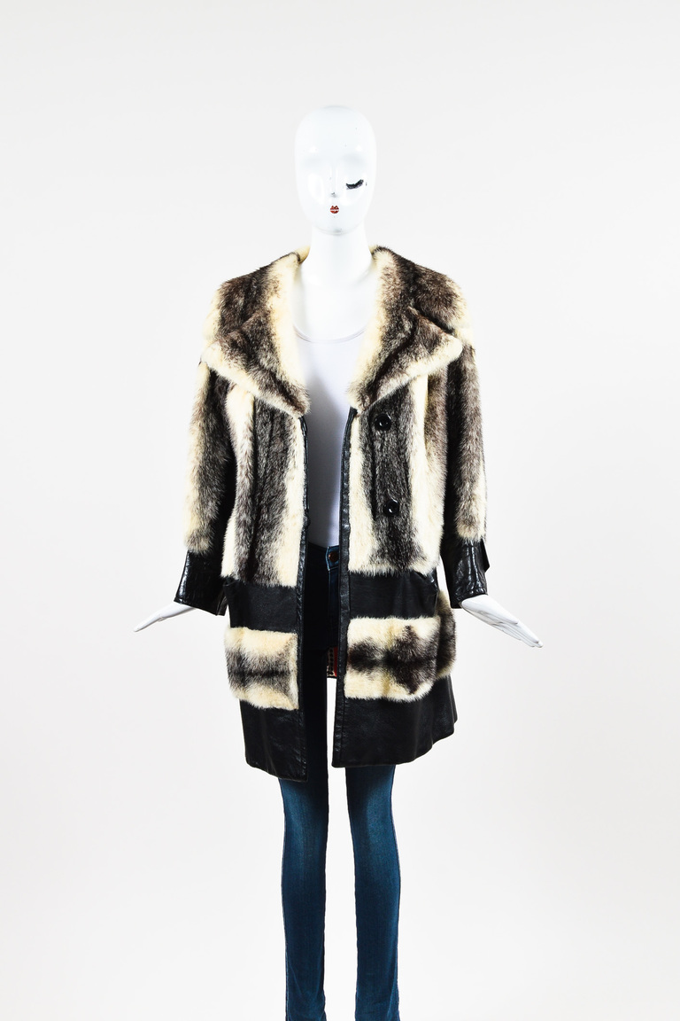 Black Cream Brown Fur Leather Trim Coat