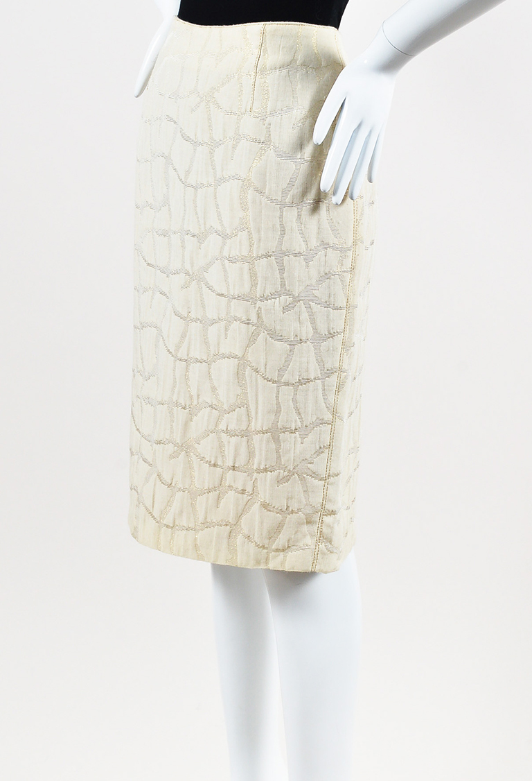 VINTAGE  Studio Cream & Metallic Gold Wool Blend Skirt