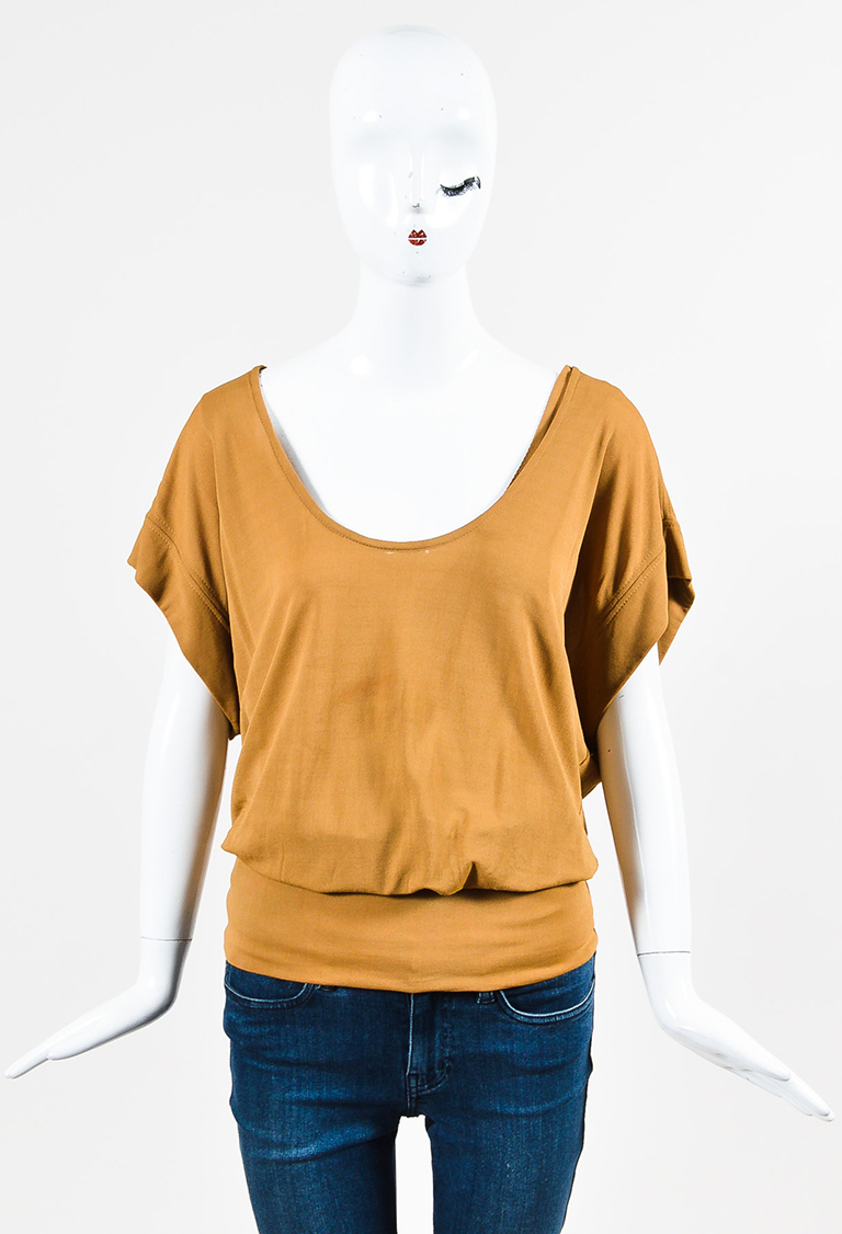 Tan Jersey Knit Off the Shoulder Top