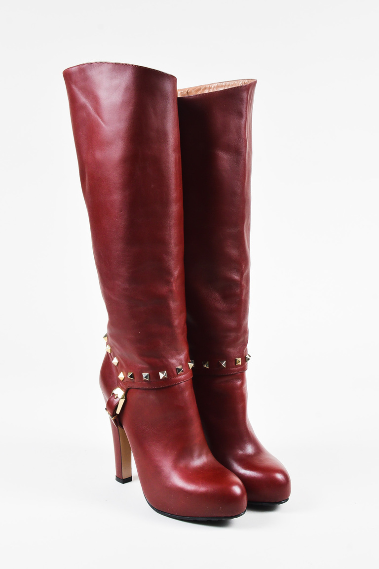 "Garavani ""Rockstud""  Red Leather Platform Knee High Boots SZ 38.5"