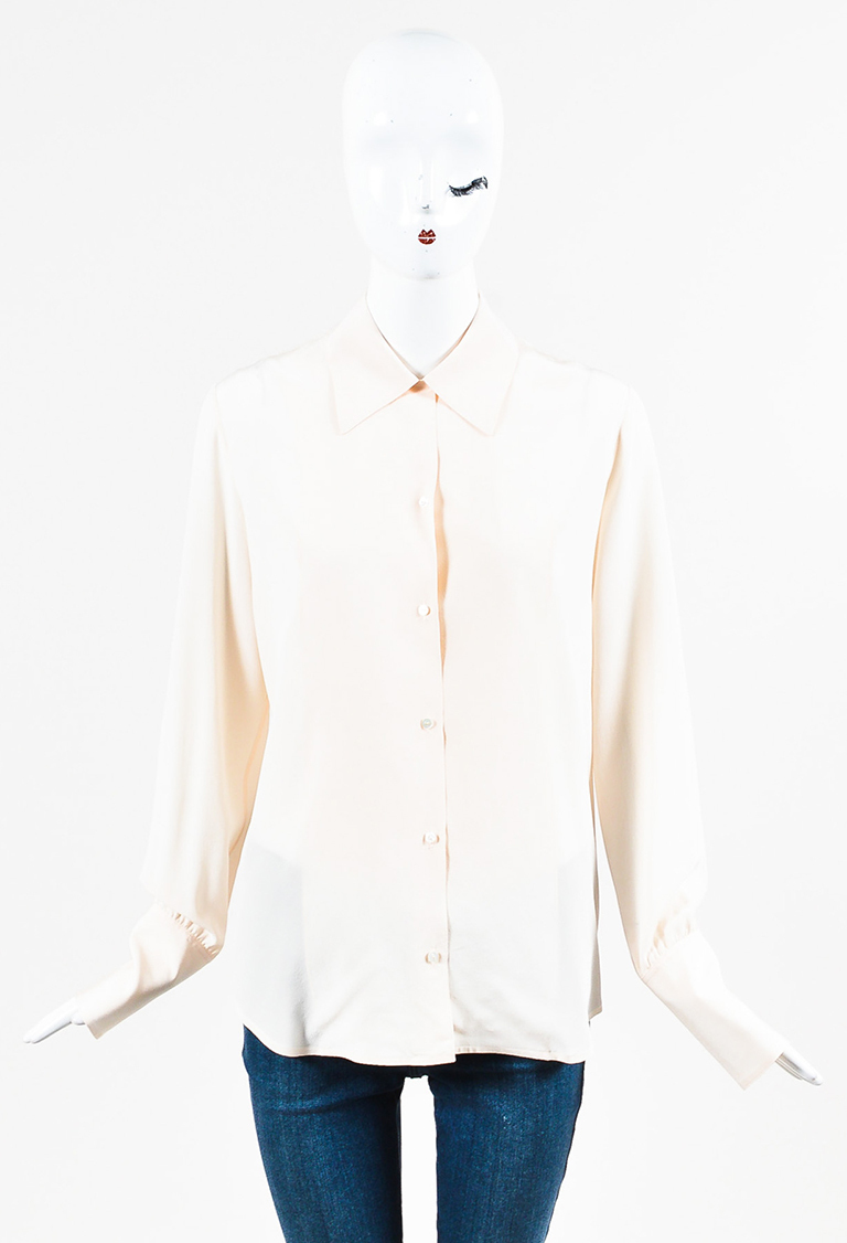 """""""Light Champagne"""" Pink Silk Crepe Long Sleeve """"Suz"""" Buttoned Shirt"""