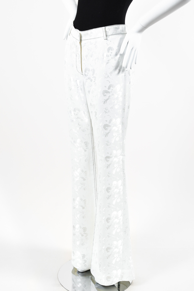 """Anemone"" White Floral Jacquard Stitched Flared Pants"
