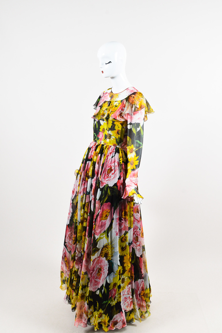 Dolce Gabbana Nwt Pink Black Yellow Silk Floral Print Ls Gown Sz