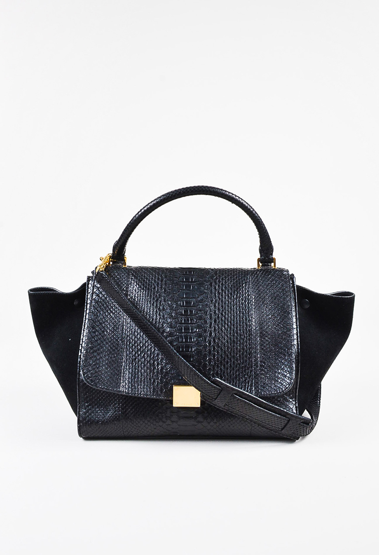 """Trapeze"" Black Python & Suede Winged Top Handle Bag"