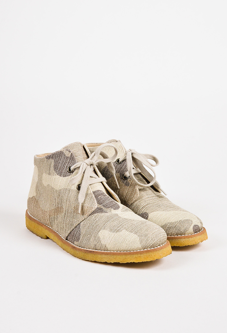 "Beige & Brown Canvas Camouflage ""Feralas"" Chukka Boots"