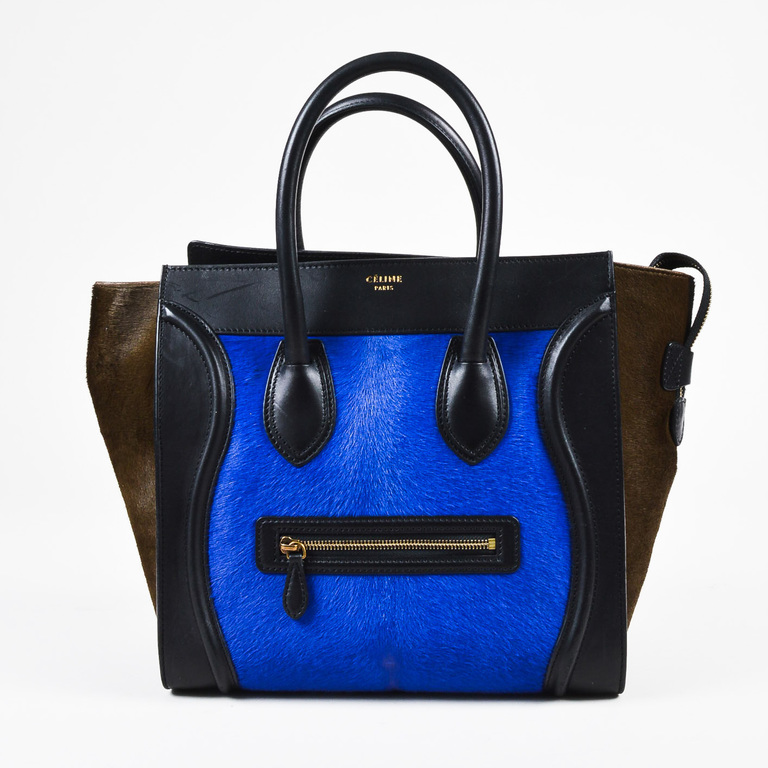 2c0874bf2c89 Celine Special Edition Black Leather Blue Brown Calf Hair Mini ...