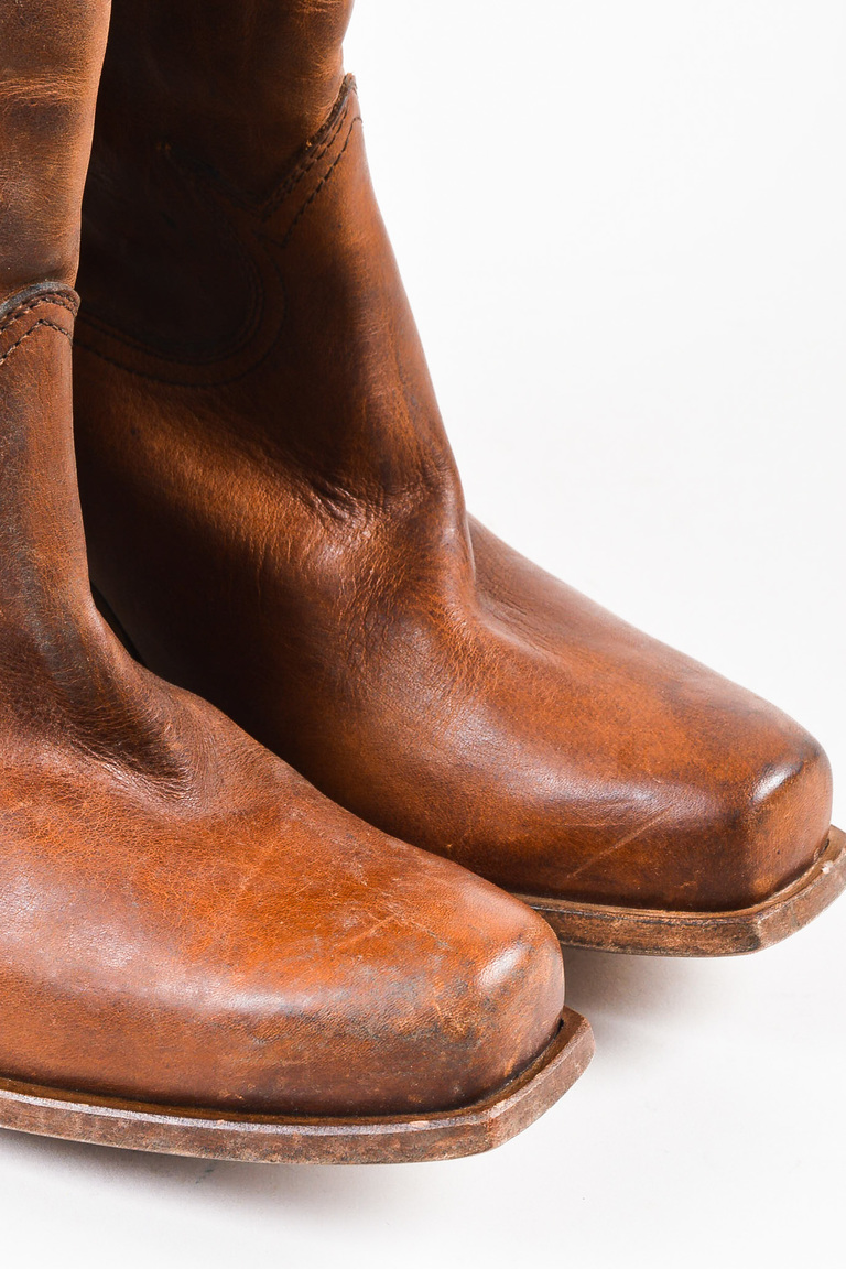 golden goose nib brown leather distressed knee high