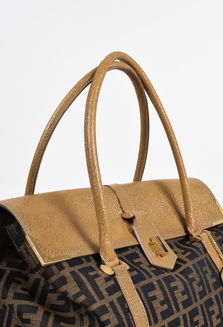 af8aead865 ... free shipping fendi 1880 brown dark yellow canvas leather zucca  patterned linda bag 67230 8ee26
