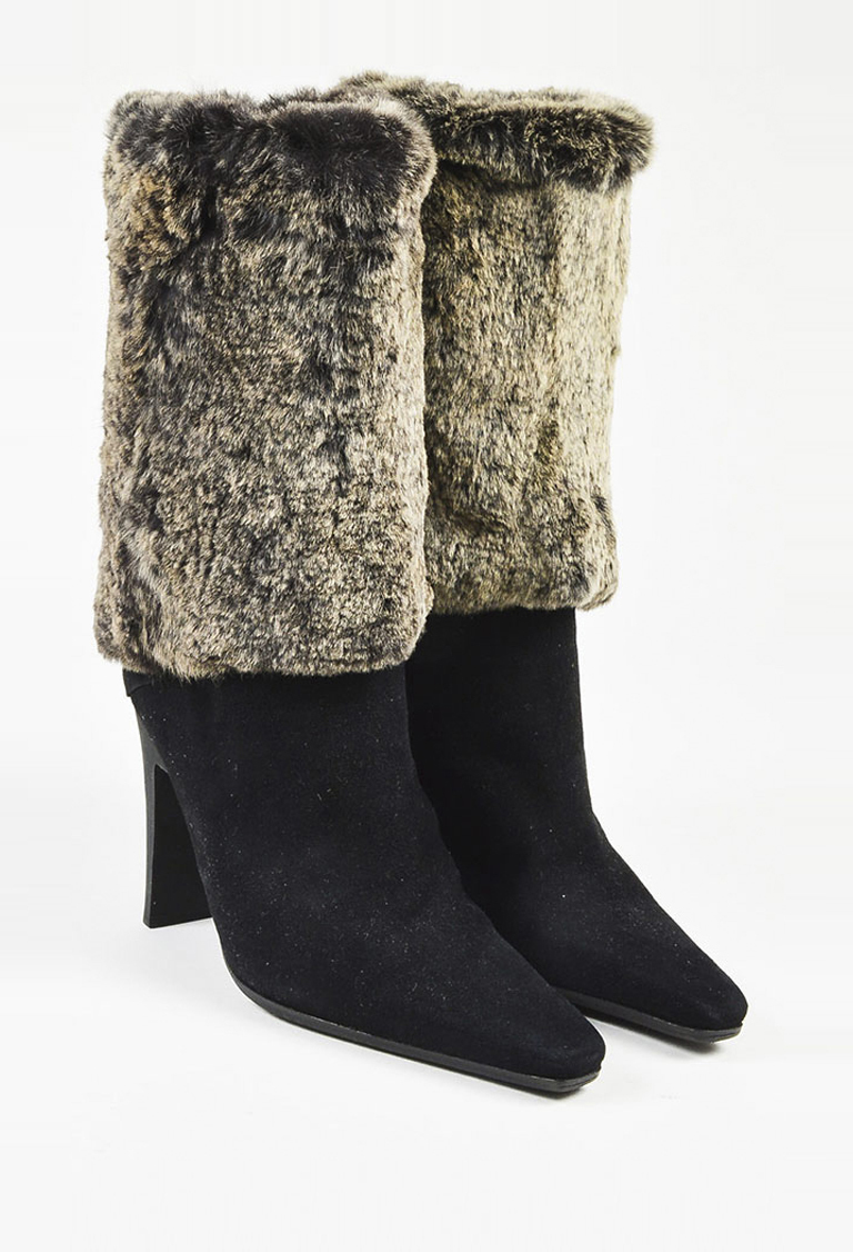 58a9261e3dc5 Details about Chanel Black Suede Cream Gray Rabbit Fur Mid Calf High Heel Boots  SZ 37
