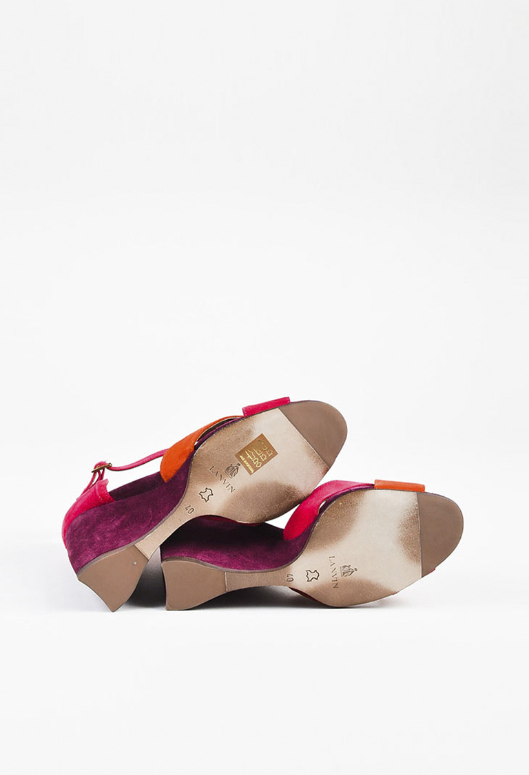 7498845461f8 Lanvin NIB Purple Pink   Orange Suede Ankle Strap Wedge Sandals SZ ...