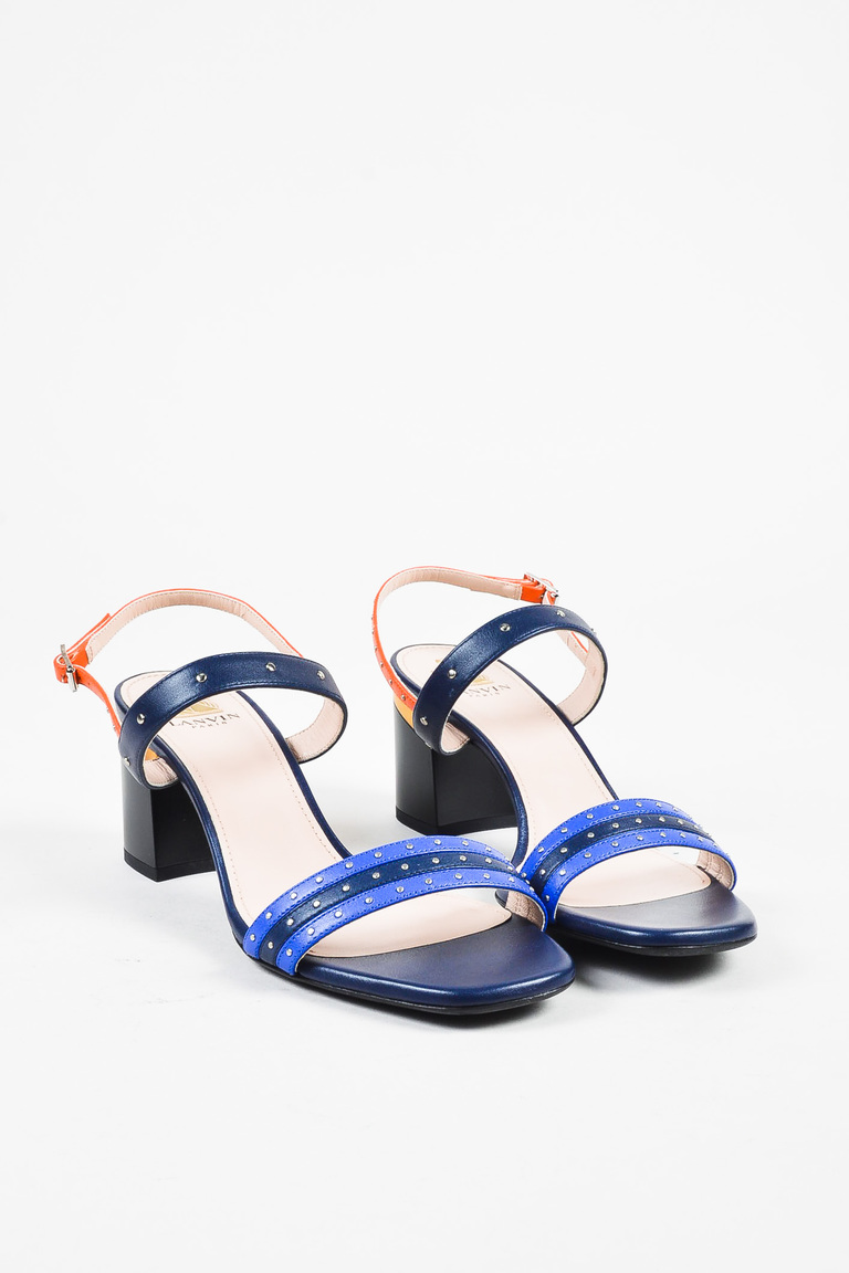 NIB Electric Blue Navy Orange Leather Stud Block Heel Sandal SZ 39.5
