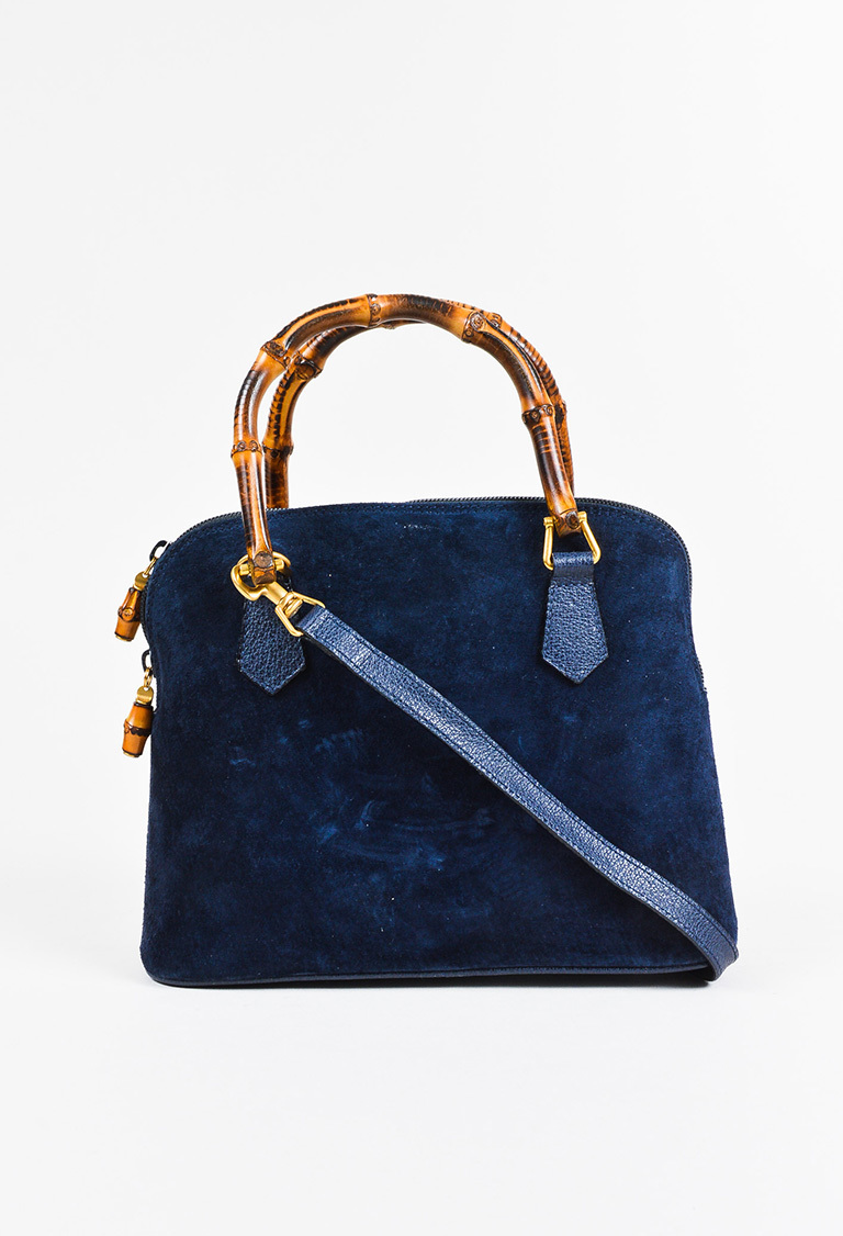 Vintage Gucci Navy Blue Suede Leather Bamboo Handle