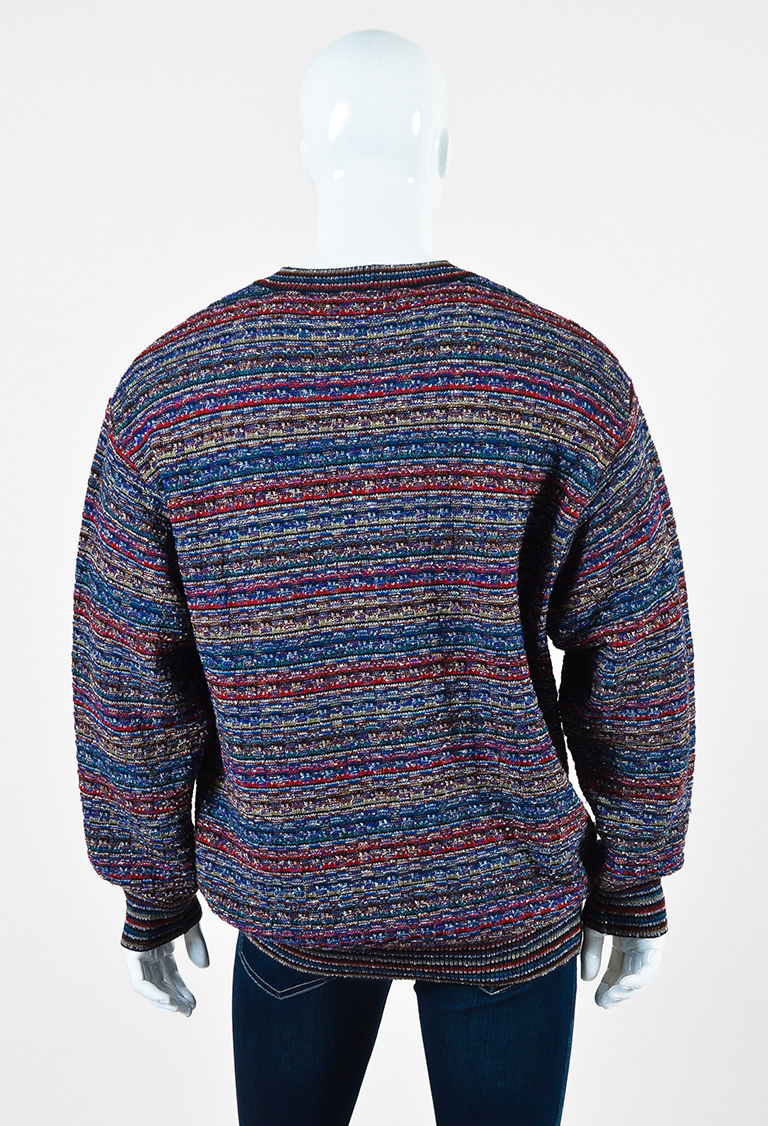 VINTAGE MENS Missoni Sport Purple Blue Red Wool Blend Striped ...
