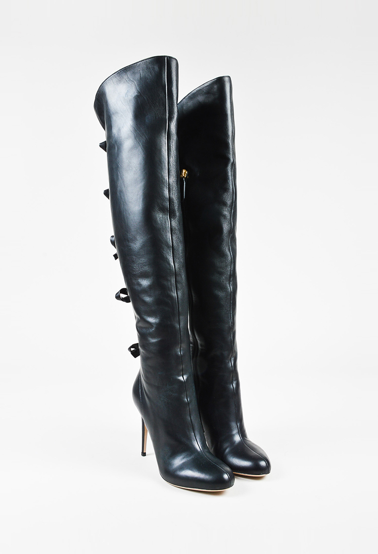 dea90bb4483 Valentino Garavani Black Leather Bow Back Heeled Over the Knee Boots ...